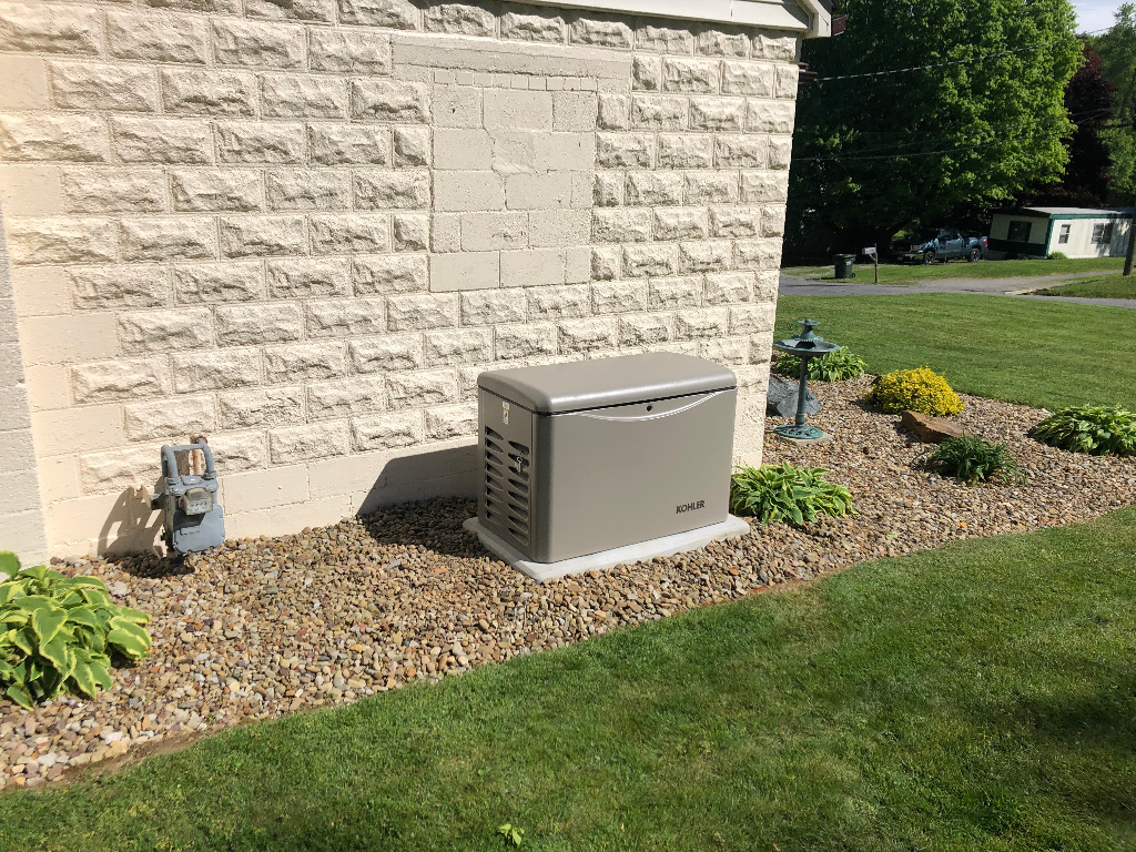 A Kohler home generator that was just installed by Wenger Electric.
